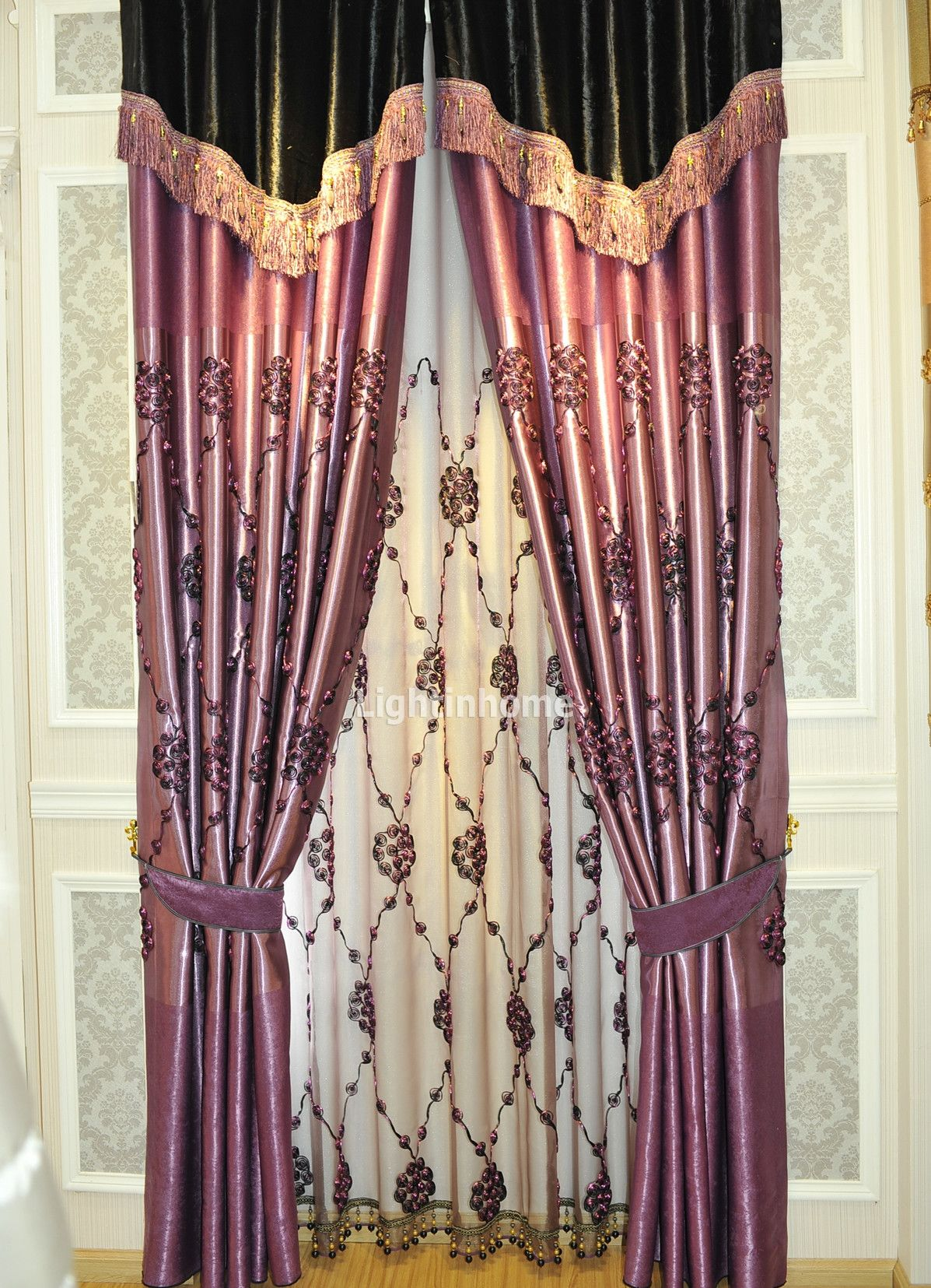 Swag Rose Patterned Romantic Bedroom Best Gold Purple Curtains