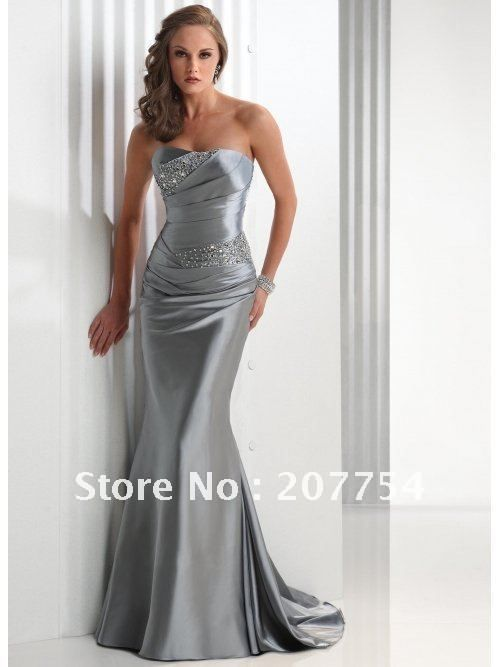 Ana's Strapless Floor Length Silver Satin Gown for masked ball ...