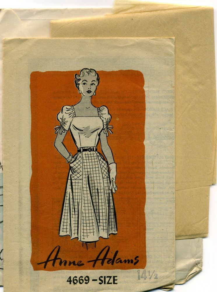 Sewing Pattern VINTAGE ANNE ADAMS 1950's Misses' SKIRT and PEASANT BLOUSE Bust34
