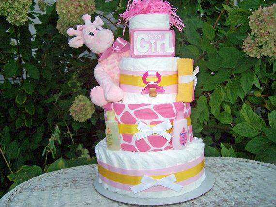 NEWGiraffe Themed Diaper Cake for Girls by AllDiaperCakes on Etsy, $85.00