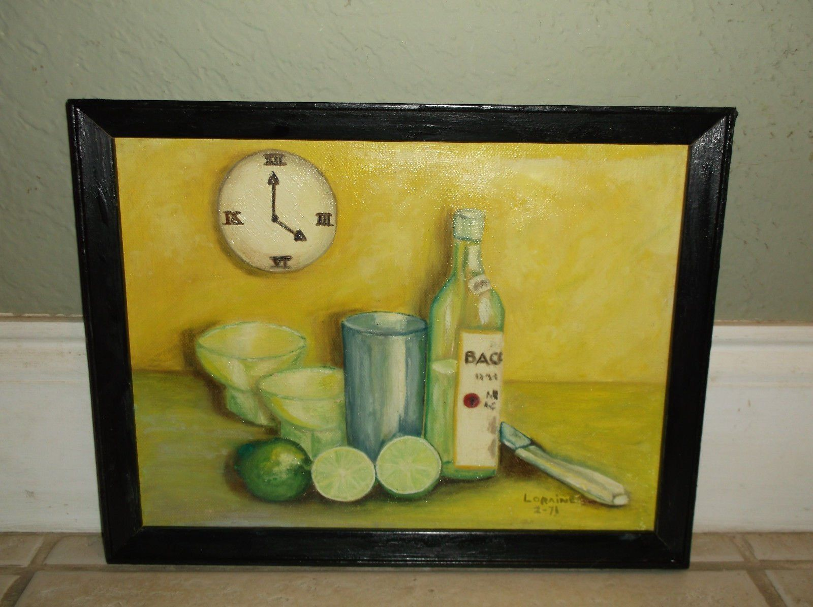 """VINTAGE LIME AND RUM STILL LIFE OIL ON BOARD SIGNED """"LORAINE B. MACINTRYE 2-71"""" https://t.co/HAq5P5bF6Y #Homedecor https://t.co/m37JKZwHv9"""