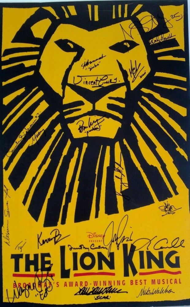 The Lion King Cast Signed Poster Broadway Musical Disney Rare Lion King Broadway Lion King Tickets Lion King Musical