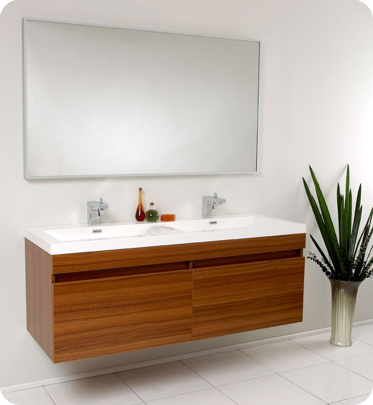 Perfect 56 Inch LargoTeak Modern Floating Bathroom Vanity. Double Sink ...