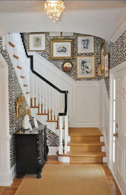 Beautiful Wallpaper Foyer Decor Home Zebra Wallpaper Design Beautiful wallpaper house photo