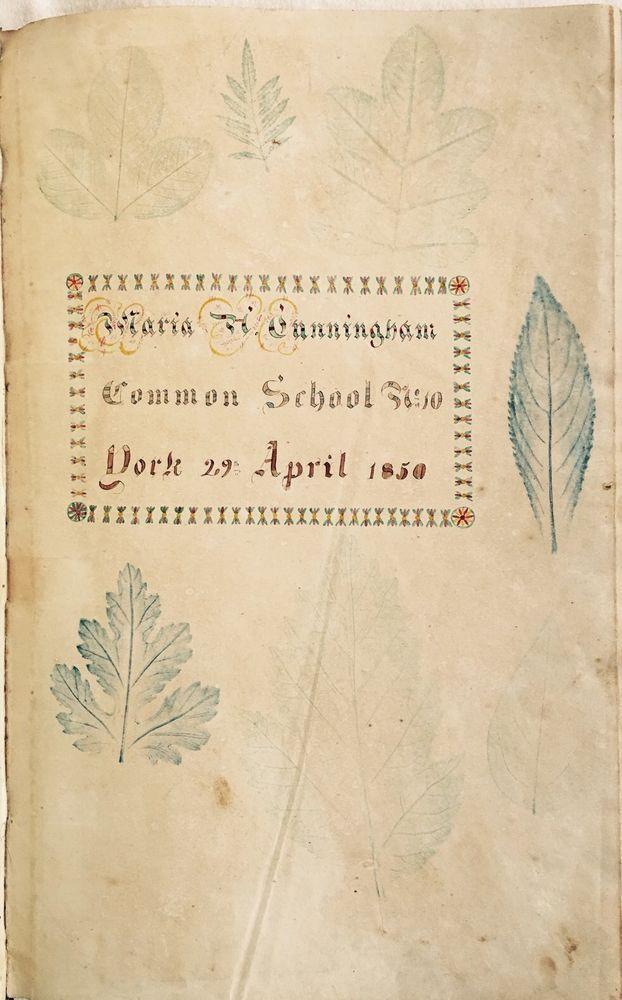 1850 Hand Decorated Arithmetic Book Maria Cunningham Common School York Canada