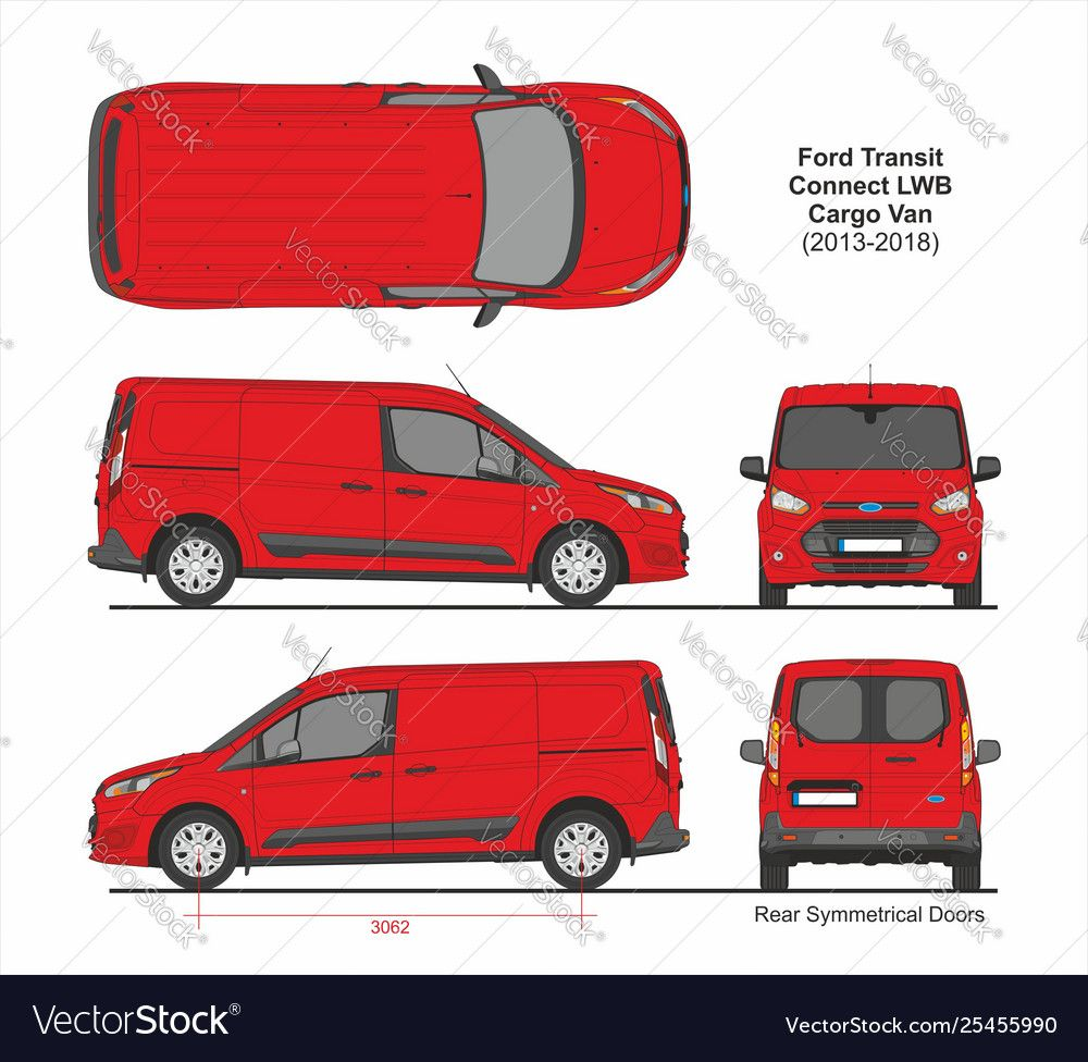 Ford Transit Connect Lwb Van 6 Doors 2013 2018 Vector Image On Vectorstock Ford Transit Renault Master Ford