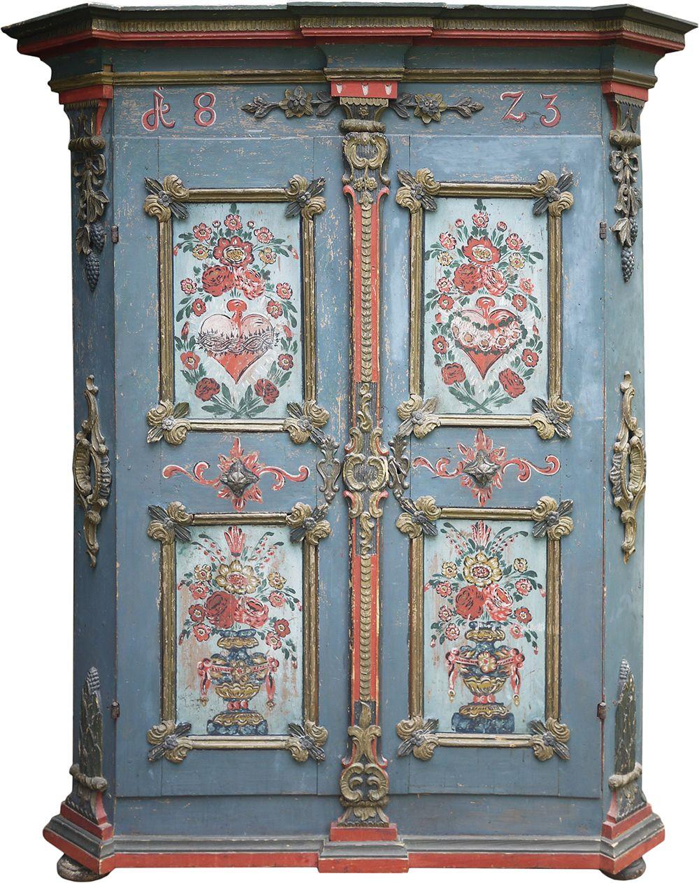 Armadio Tirolese Dinto E Intagliato Antico Originale Guardaroba