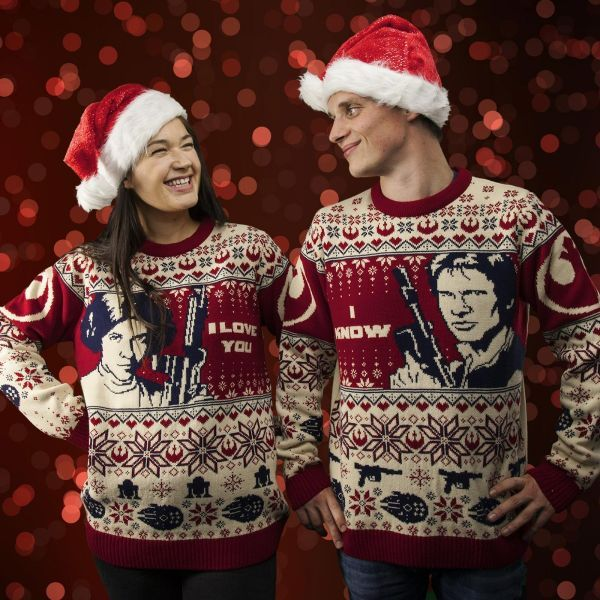 Star Wars Han  Leia Couples Knitted Christmas Sweater/Jumper Set