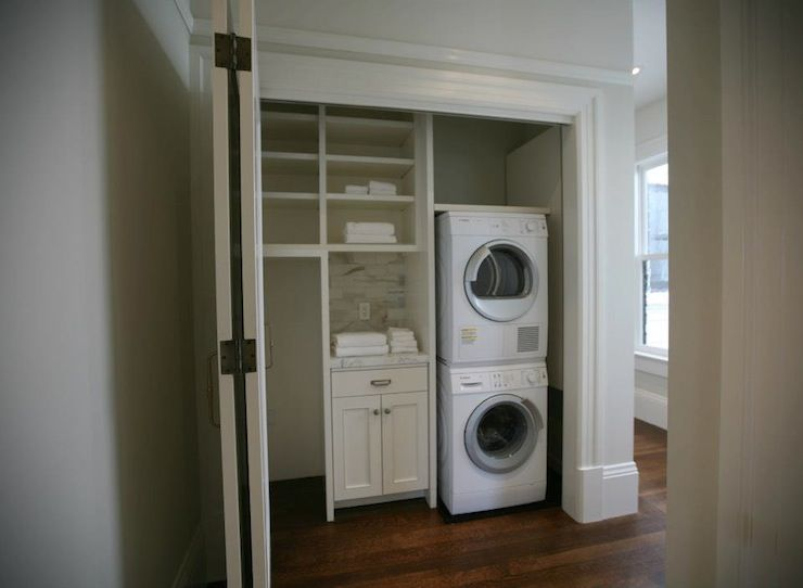 Closet Laundry Room, Stacked Washer And Dryer, White Laundry Cabinets, Folding  Doors,