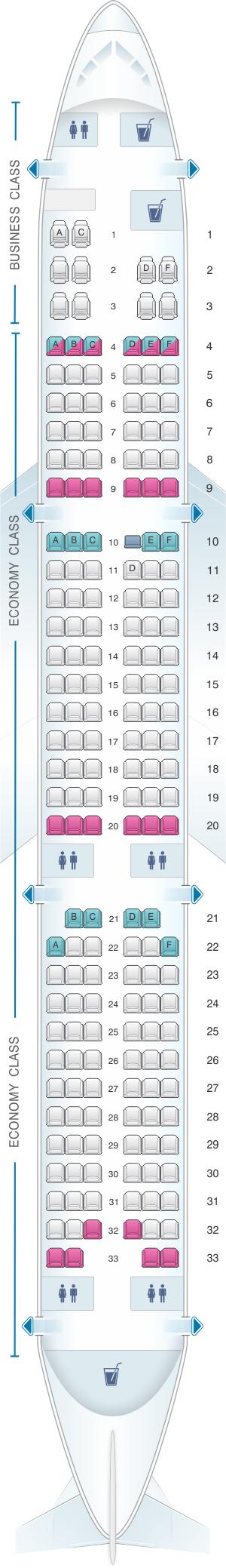 Seat Map Egyptair Airbus A321 231 Egyptair Allegiant Air