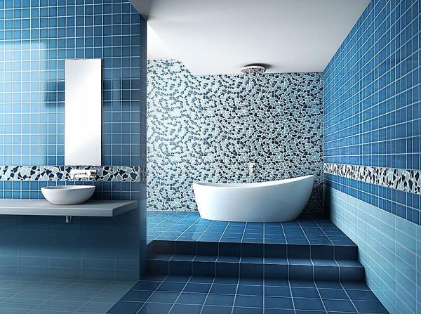 Modern Ocean Blue Tile Designs For Bathrooms With Mosaic Pattern