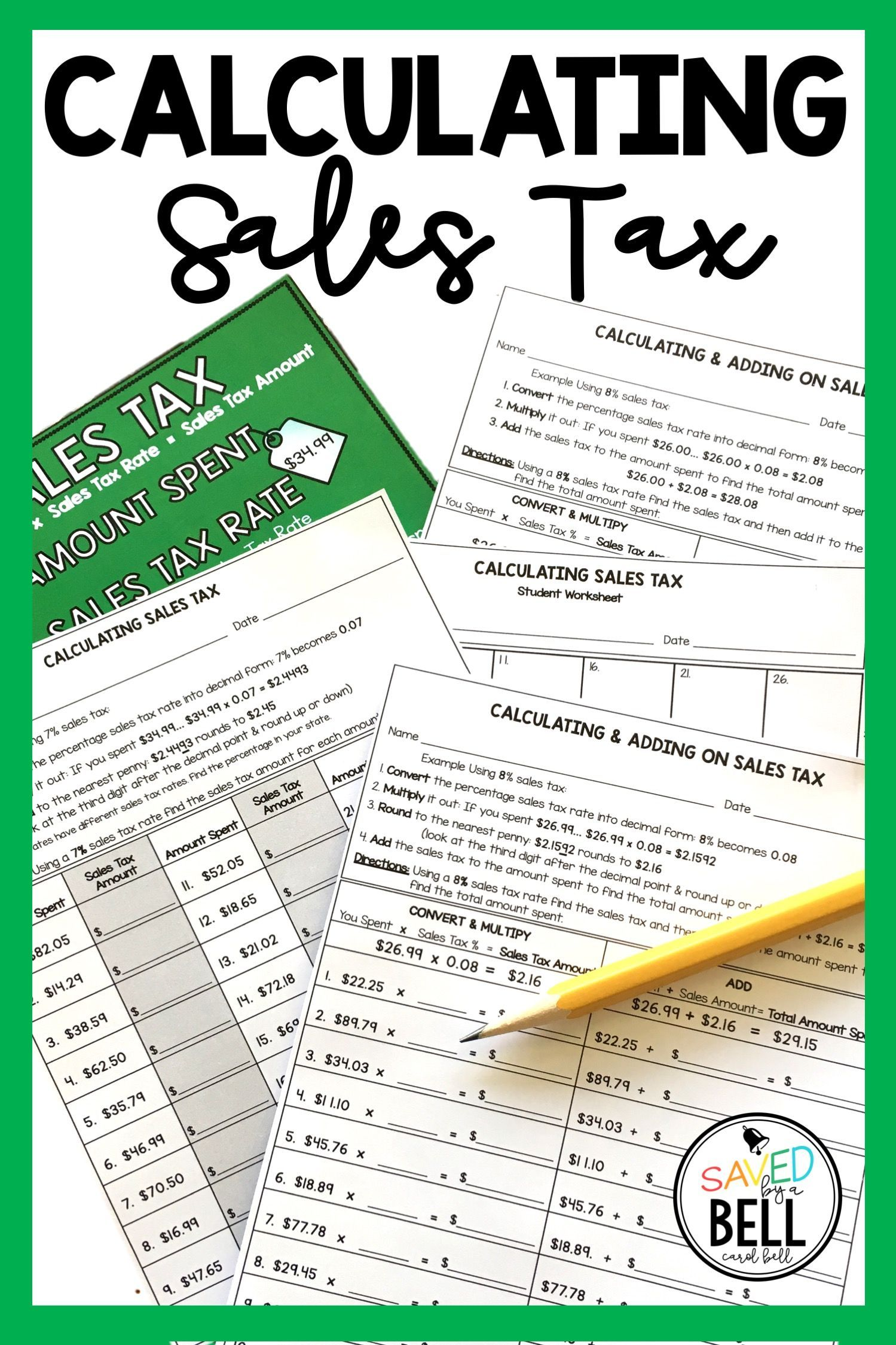 Sales Tax Worksheets With Editable Sales Tax Rates Distance