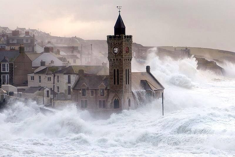 Waves in Cornwall today.