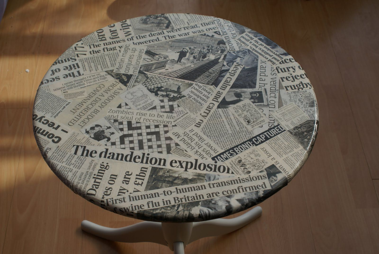 Decoupage Newspaper Table in 2019