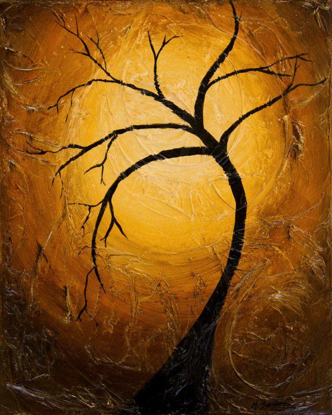 Tree silhouette painting - 8x10 Original Acrylic Painting - Heavily ...
