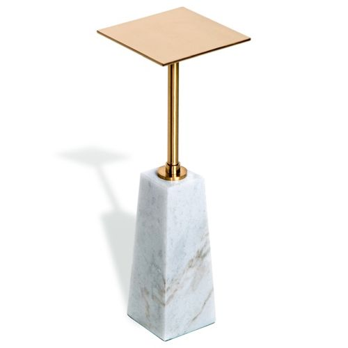 Beck square drink table white antique brass