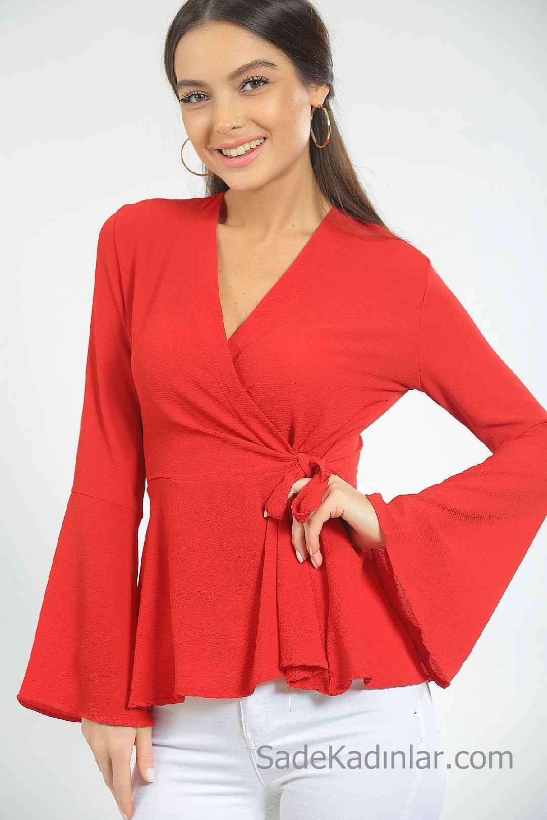 2020 Kirmizi Abiye Bluz Modelleri Uzun Ispanyol Kollu Kruvaze Yaka Baglamali Ust Giyim Tasarimci Giyim Kisa Elbiseler