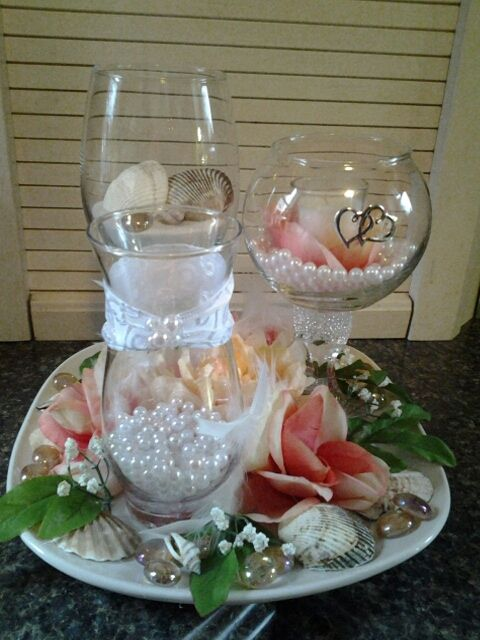 Table centerpieces that my Mother and Sister made!
