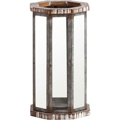"Bungalow Rose Metal and Wood Lantern Size: 16"" H x 9"" W x 9"" D"
