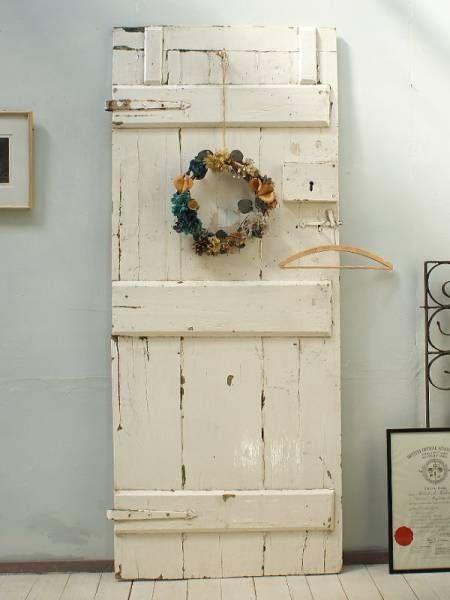 イギリスアンティーク白い木製ドア扉ディスプレイ建具1632 インテリア