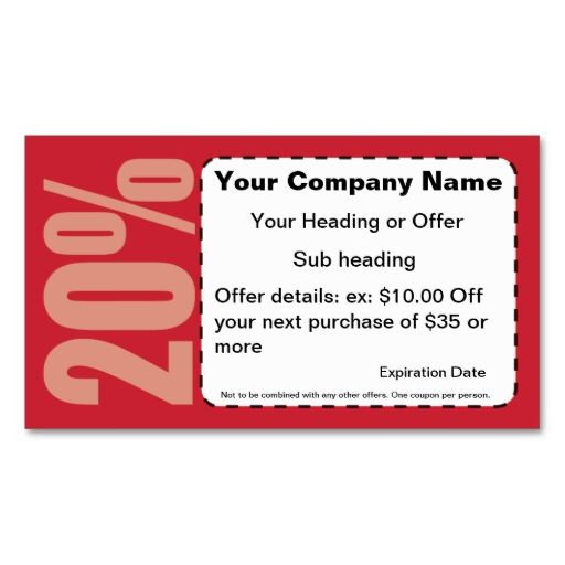 Off Coupon Business Card This Is A Fully Customizable