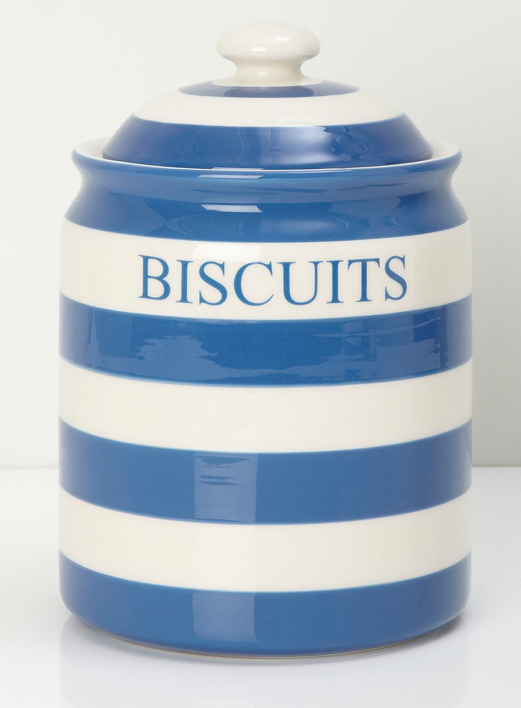 Vintage Blue & White Striped Cornish Ware Biscuit Jar with Lid ...