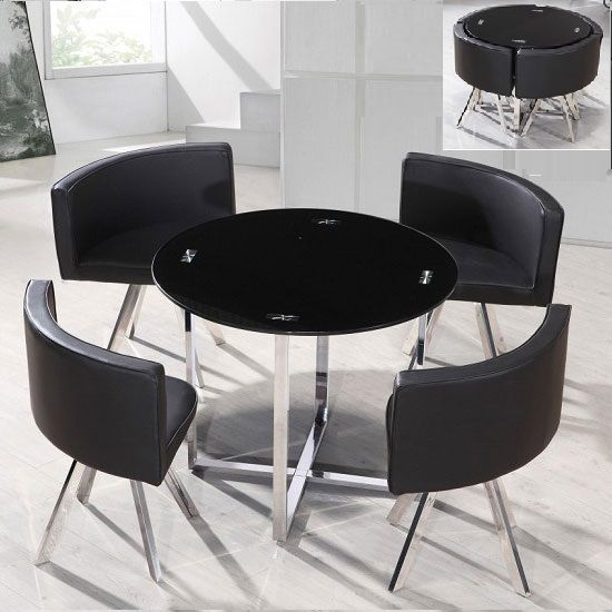 Coco Round Black Glass Dining Table With 4 Chairs ...