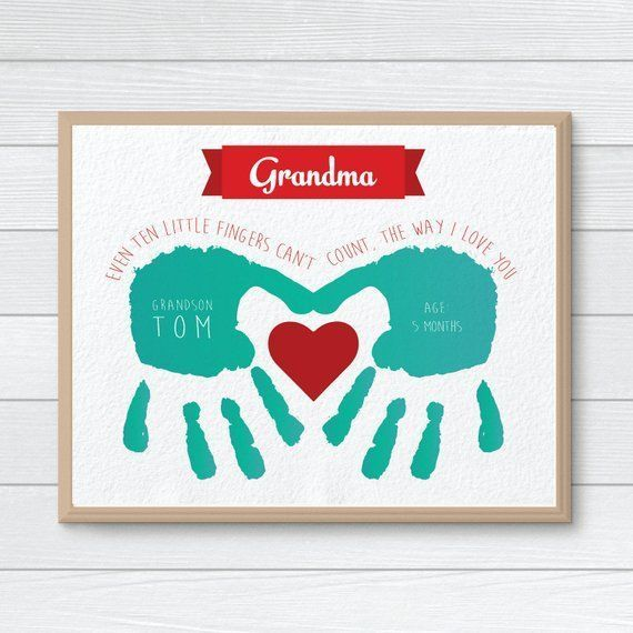 Personalized Gift for Mom, Grandmother, Nanny Gift, Handprint, Mothers Day Gift, Handprint Keepsake #grandparentsdaycrafts