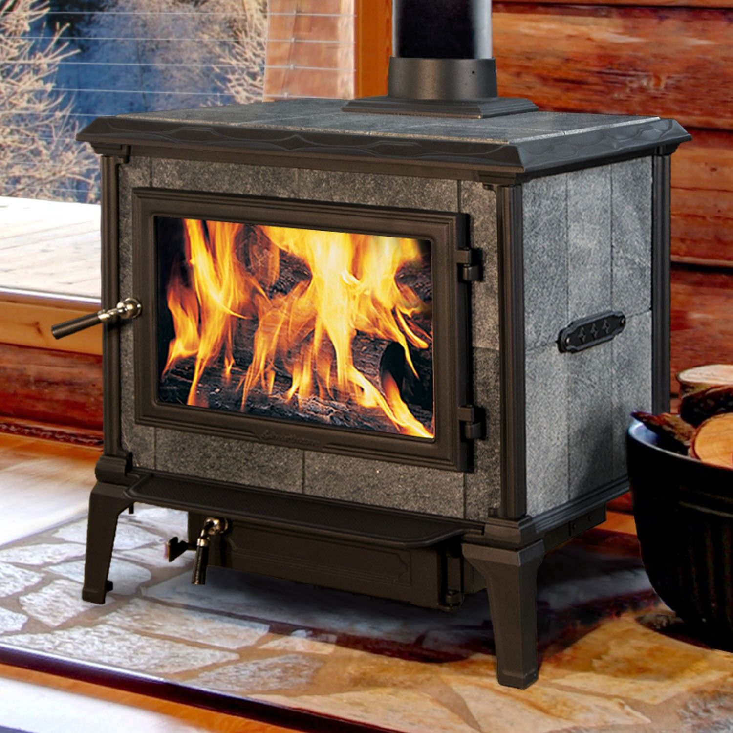 Soapstone Wood Stove, Wood Burning Stoves, Wood Stoves, Firewood,  Fireplaces, Steel Frame, Matte Black, Logs, Content - The Hearthstone Heritage Soapstone Wood Stove Is One Of The Most