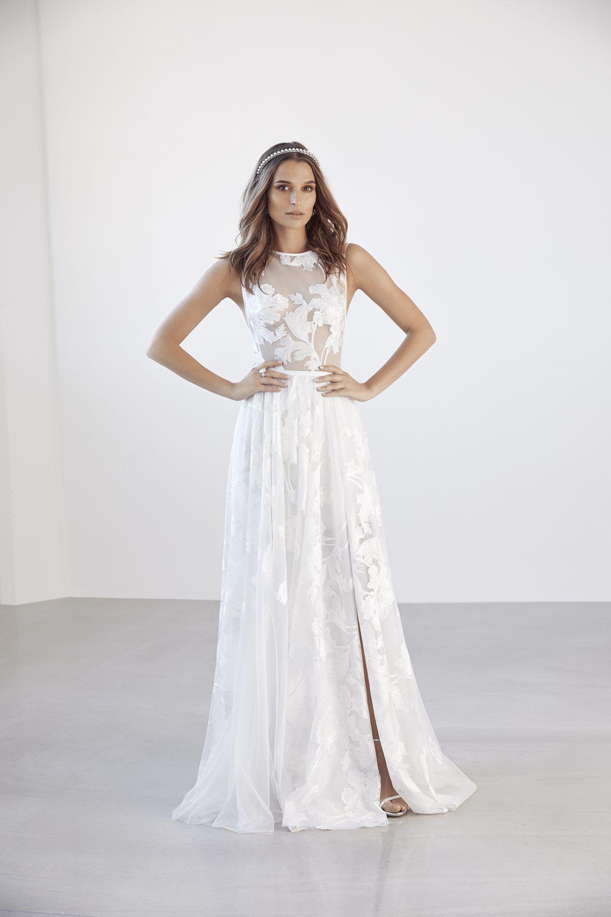Fleur wedding dress  Sleeveless illusion floral applique Aline wedding dress with tulle