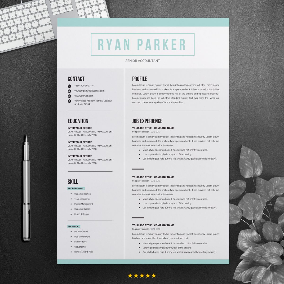 Ryan Parker Professional Resume Template 71464 (With