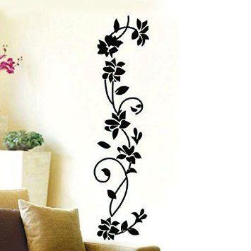 miryoxcm pegatinas adhesivos vinilos decorativos transferir vid de la flor negro removible para sala