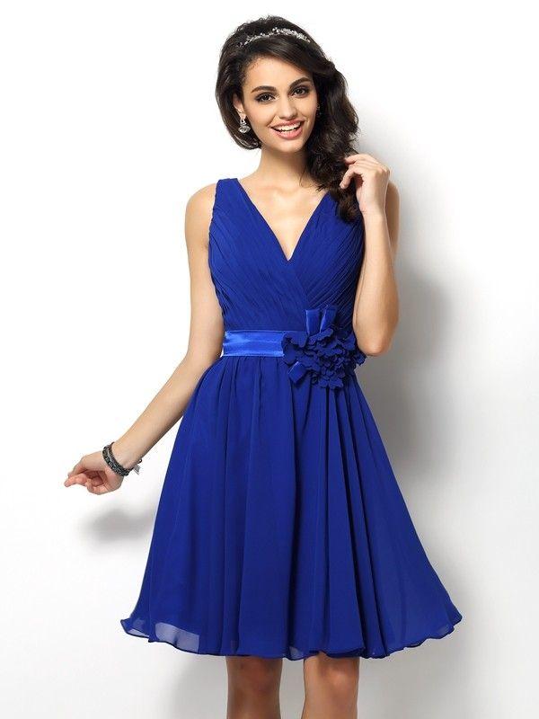48f6825a4ff A-Line Princess V-neck Pleats Sleeveless Short Chiffon Bridesmaid Dresses - Bridesmaid  Dresses - Hebeos Online