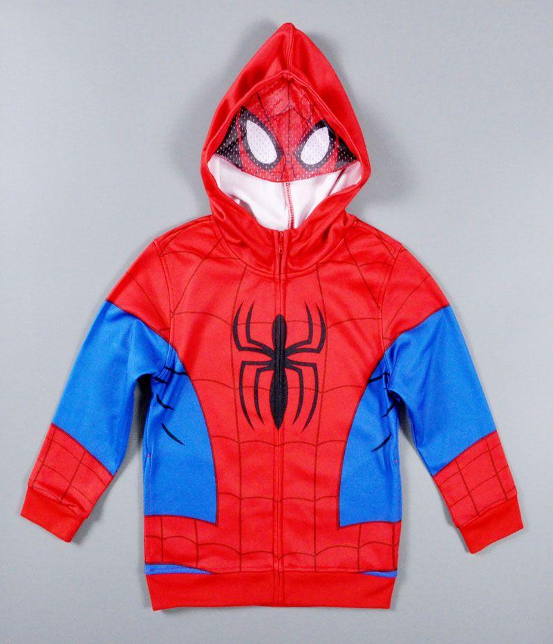 Kids Boys Long Sleeve Hoodied Spider-man Cotton Coat Zipper Cartoon TOPS Clothes