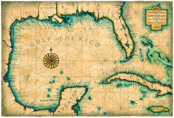 Gulf And Caribbean Map Art C 1800 Old Maps Cuba Florida Maps