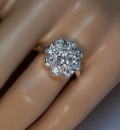 Antique Diamond Platinum Cluster Engagement Ring Diamond cluster