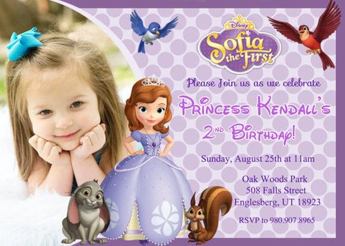 Sofia The First Birthday Party Invitation Digital File Gabbi 3rd