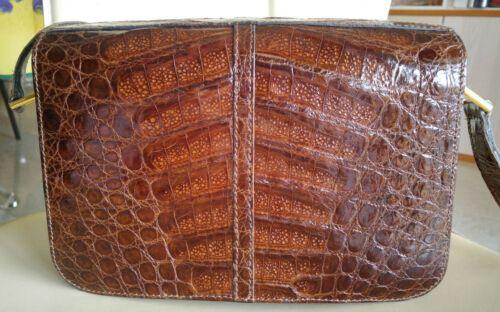 188bcc171f Superbe sac à main véritable crocodile verni marron daim épais vintage NEUF  RARE | eBay