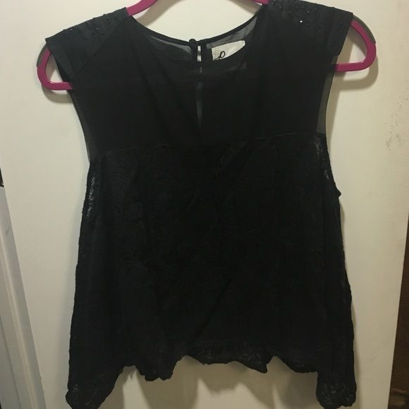 Black lace top Rhinestone on the shoulders. Plain sheer on the chest Pencey Tops Tank Tops