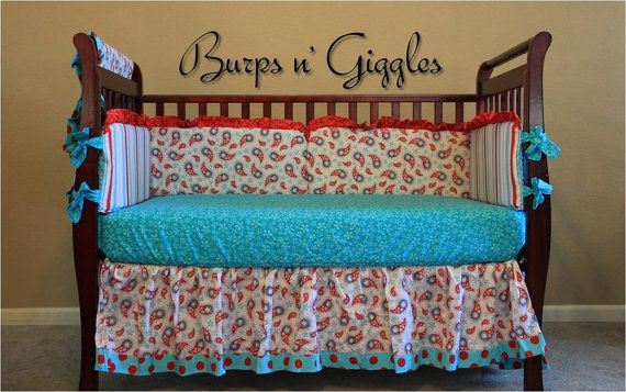 Aqua And Red Baby Bedding Charlotte Pinterest
