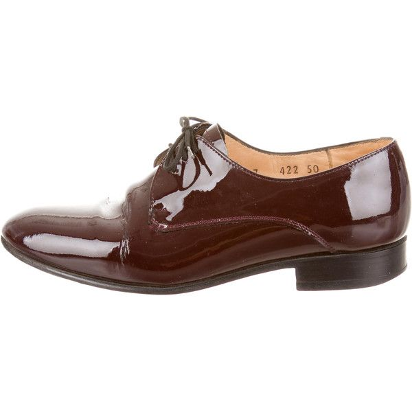 Dieppa Restrepo Lace-Up Oxfords (276.830 COP) ❤ liked on Polyvore featuring shoes, oxfords, burgundy, round cap, oxford lace up shoes, patent leather oxfords, patent leather oxford shoes and lace up shoes