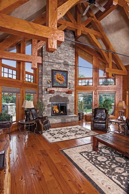 Compact Hybrid Timber Frame Home Design Photos Timber Home Living: : Hybrid Log And Timber Homes » Wisconsin Hybrid Home » Great Room View