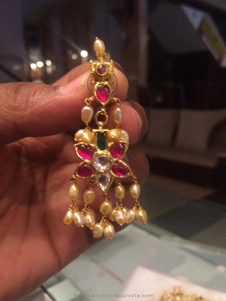 Gold Ruby Earrings With Pearls Rubies And