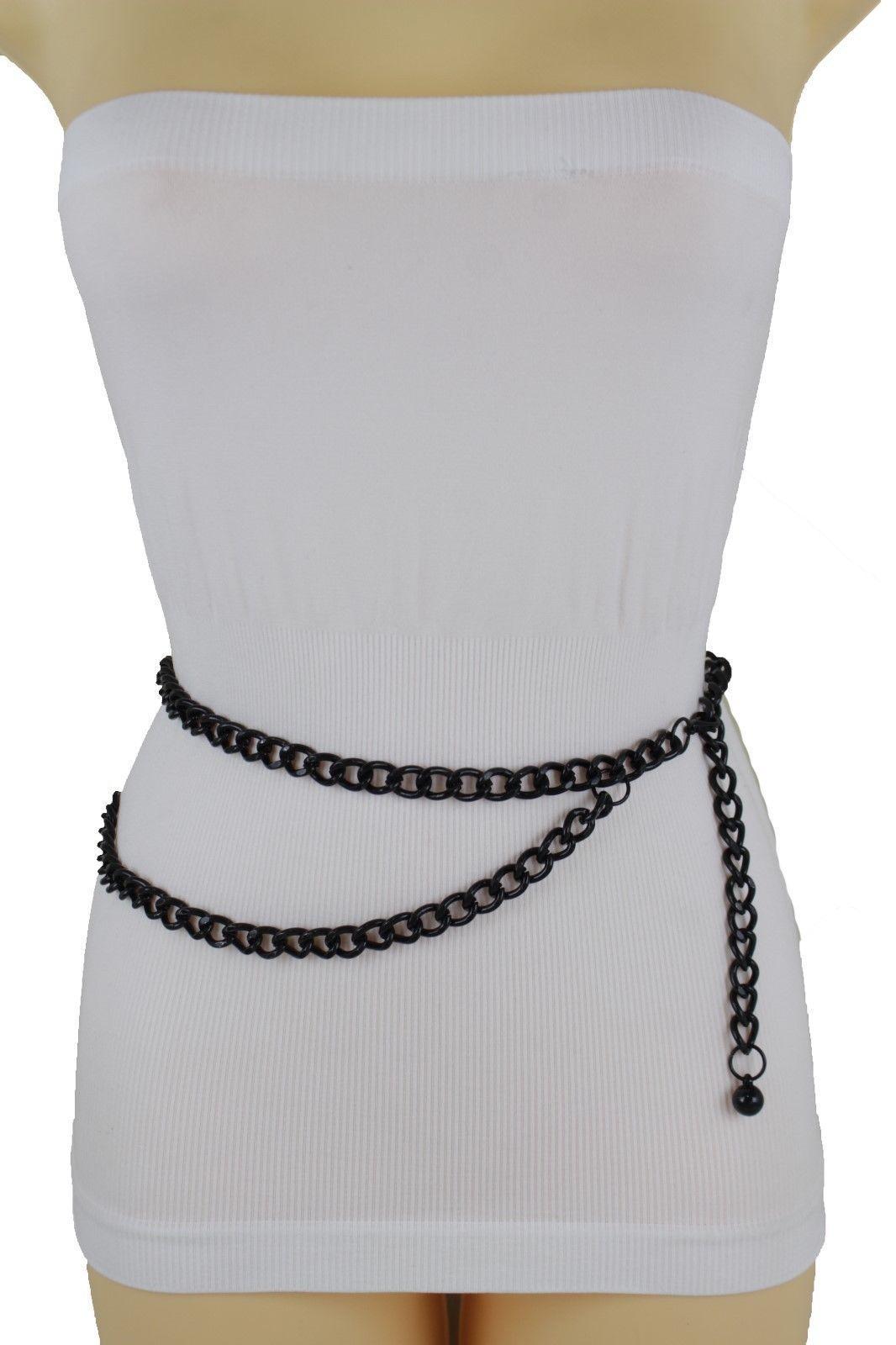 e422d5f1114e9 Black Silver Gold Hot Women Belt Metal Chain Links Hip Waist New Biker Punk  Fashion Accessories