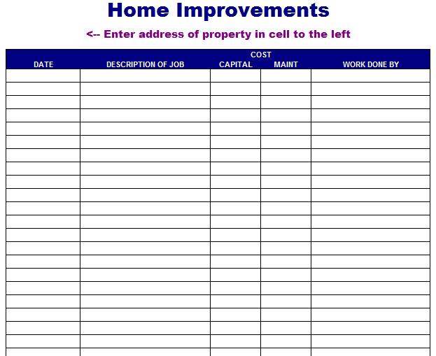 Home Improvement List Template - info on financing house ...