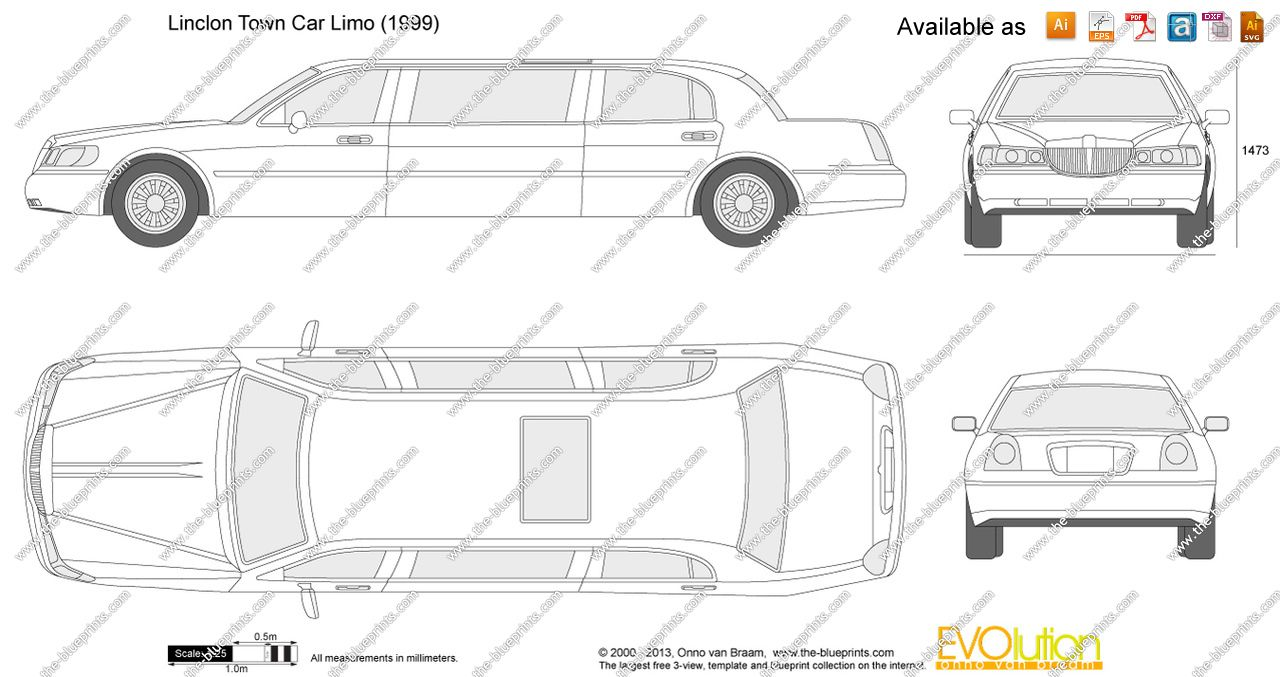 The-Blueprints.com - Vector Drawing - Lincoln Town Car Limo | Cake ...