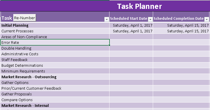 project planner excel template