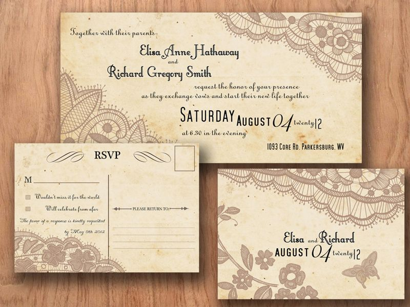 приглашения на свадьбу с кружевом Wedding Invitation Pinterest - Card template free: postcard wedding invitations template