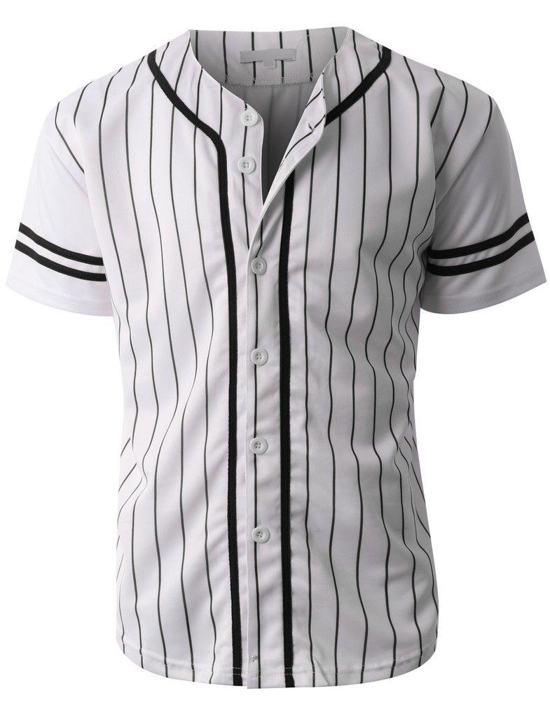 Mens Striped Short Sleeve Button Down Baseball Jersey  de539d87f