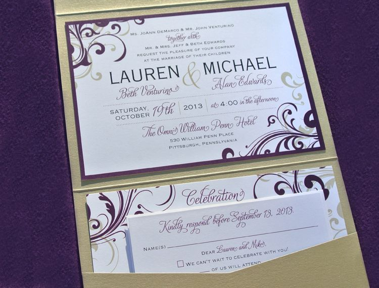 Purple Gold Swirls Scrolls Vertical Pocketfold Wedding – Gold and Purple Wedding Invitations